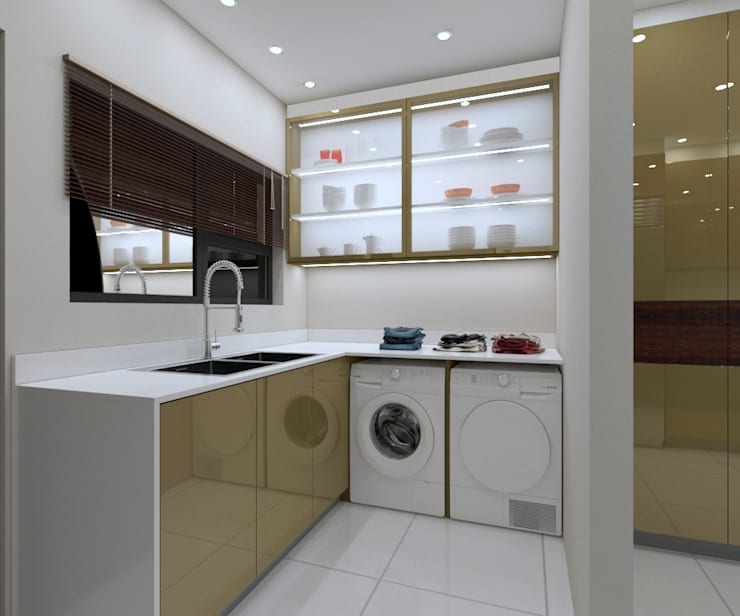 LUXURY KITCHEN - utility area  :  Built-in kitchens by Linken Designs , Modern Silver/Gold