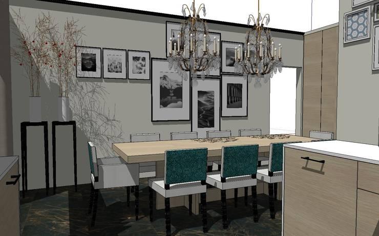 Eetkamer met tafel en stoelen op maat:  Inbouwkeukens door De Heeren