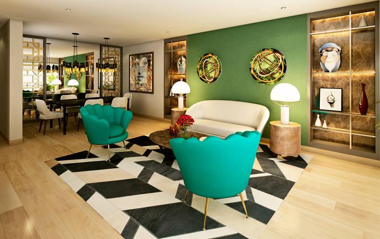 Proyecto PR: Salas / recibidores de estilo  por Luis Escobar Interiorismo,