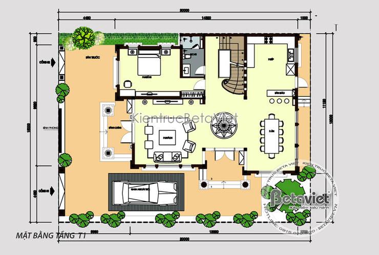 Mặt bằng tầng 1 thiết kế biệt thự 3 tầng Tân cổ điển (Ông Cường - Thái Nguyên) KT17096:   by Công Ty CP Kiến Trúc và Xây Dựng Betaviet