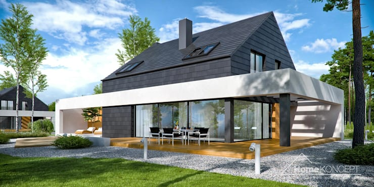 Casa unifamiliare in stile  di HomeKONCEPT | Projekty Domów Nowoczesnych