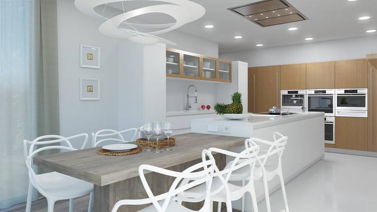 Cocinas a medida  de estilo  por Rendering All , Moderno Compuestos de madera y plástico