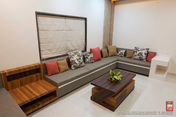 Interior of Residence for Mr. Chandrashekhar R:  Living room by ABHA Design Studio,Minimalist