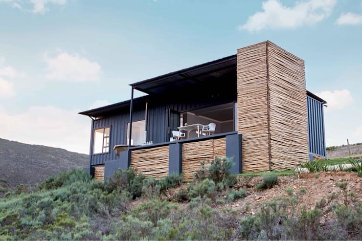 Exterior facade of a Shipping Container unit:  Prefabricated Home by Berman-Kalil Housing Concepts