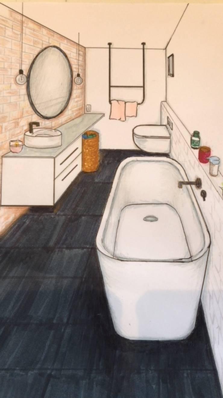 Industriële badkamer schets:  Badkamer door Studio Room by Room