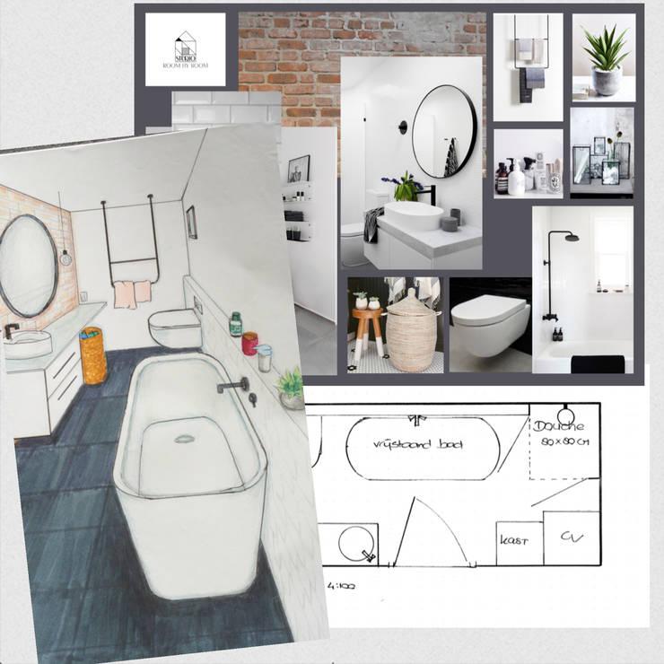 Design plan industriële badkamer:  Badkamer door Studio Room by Room