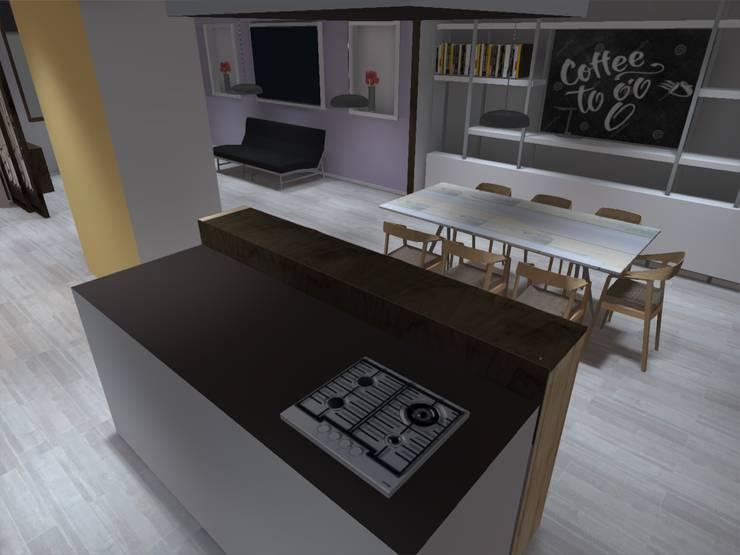 interior cocina americana: Cocinas de estilo  por ATELIER3