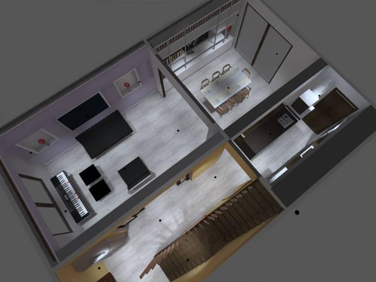 piso 1: Pasillos y hall de entrada de estilo  por ATELIER3