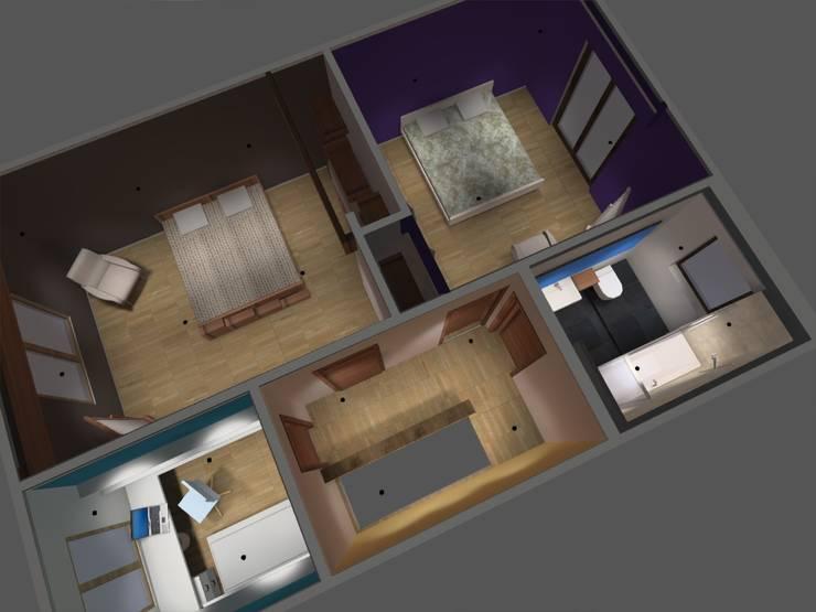 piso2: Dormitorios de estilo  por ATELIER3