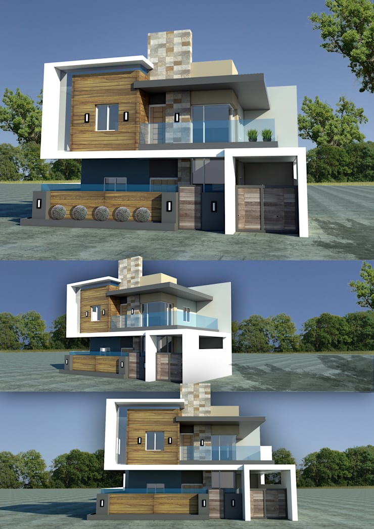 Mixed Materials double storey house:  Houses by Sindac Architectural Design and Consultancy