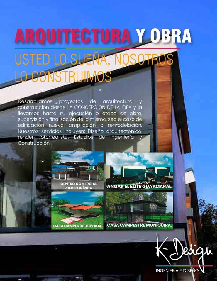 Arquitectura, construcción, diseño interior, remodelación y mantenimiento.:  de estilo  por .K-Design arquitectura y diseño interior