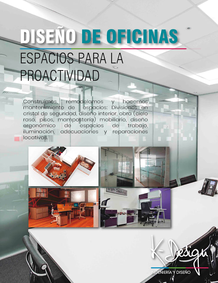 Remodelación de oficinas:  de estilo  por .K-Design arquitectura y diseño interior