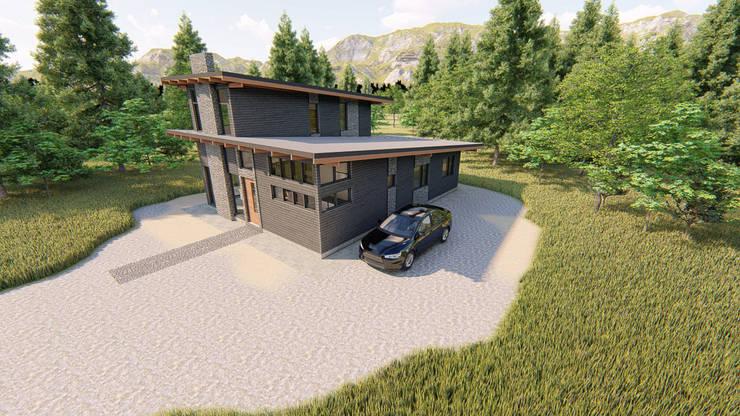 Vista aérea de Casa Levis. Espacio para garage:  de estilo  por Tila Design,