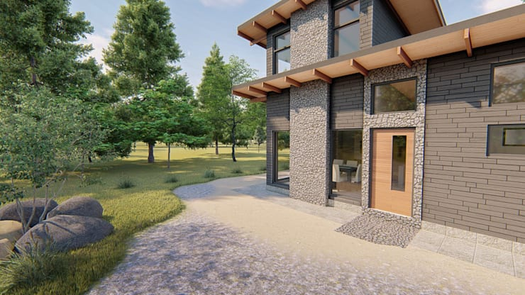 Vista de frente con espacio de jardin:  de estilo  por Tila Design,
