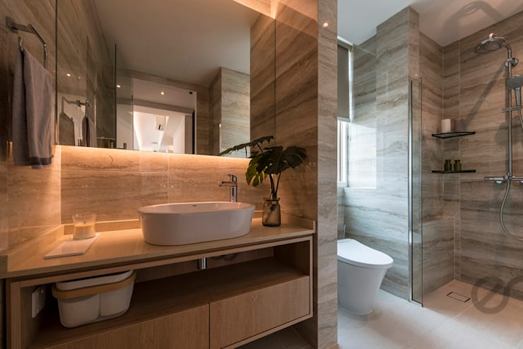 Design & Build: Melrose Condominium:  Bathroom by erstudio Pte Ltd