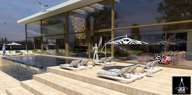 Área externa : Casas modernas por JKR arquitetura e Designer - Arquitetos Associados