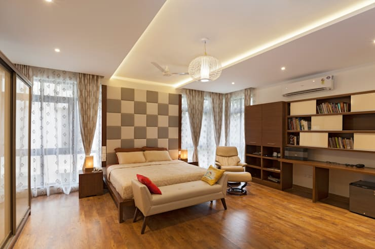 Residence No.1 at Panache, chennai:  Bedroom by Synergy Architecture and Interiors,Modern