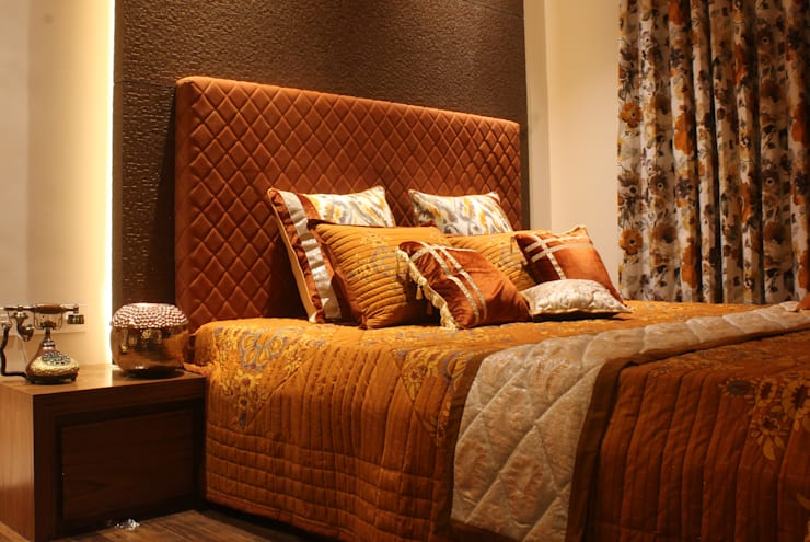 Brown Quilted Customized 11 piece Bedspread  :  Bedroom by Studio 63,