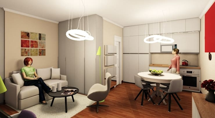 Render vista living cucina: Cucina in stile  di INTERNO 75