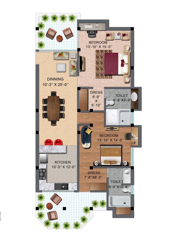 FLOOR PLAN:  Floors by EVEN SIGHTS ARCHITECTS,Modern Tiles
