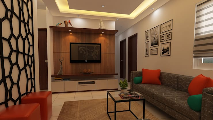 Compact :  Living room by Fuze Interiors,Modern Plywood
