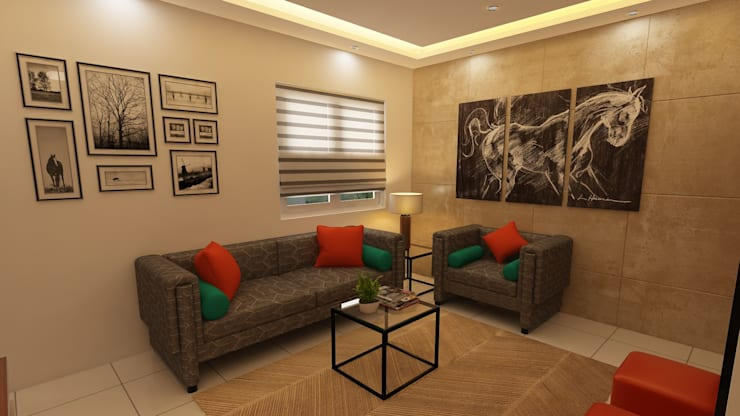 Compact :  Living room by Fuze Interiors,Modern