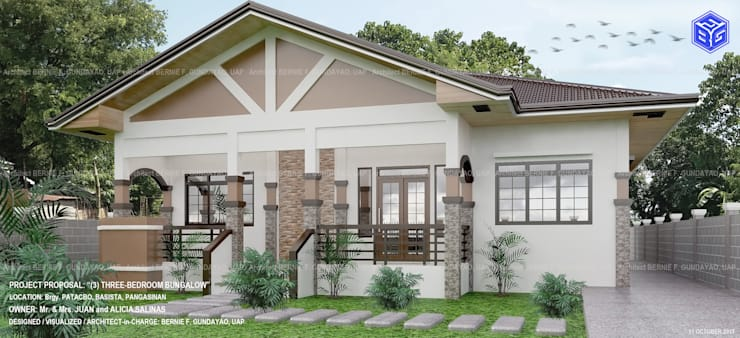 (3) THREE BEDROOM RESIDENTIAL BUNGALOW:   by BFgundayao Builders