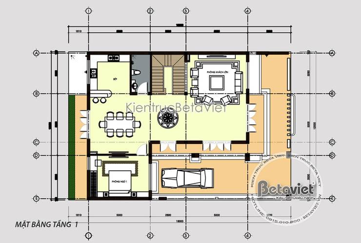 Mặt bằng tầng 1 mẫu thiết kế biệt thự Hiện đại mái bằng đẹp 3 tầng (CĐT: Ông Dương - Quảng Ninh) KT18043:   by Công Ty CP Kiến Trúc và Xây Dựng Betaviet