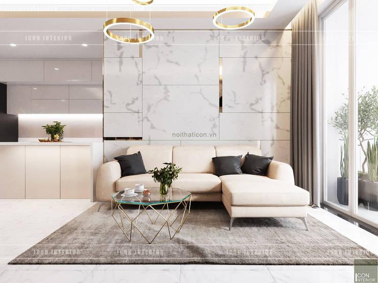 THIẾT KẾ CĂN HỘ VỚI NỘI THẤT PHONG CÁCH CHÂU ÂU – Sarica Condominium Sala:  Phòng khách by ICON INTERIOR