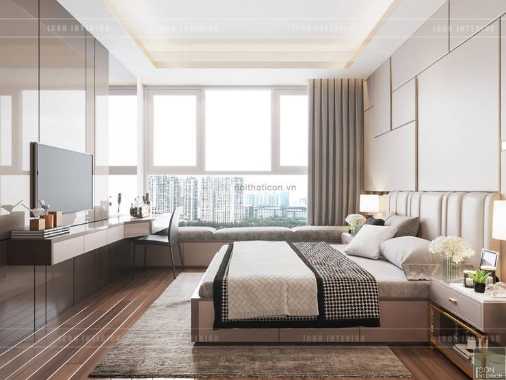 THIẾT KẾ CĂN HỘ VỚI NỘI THẤT PHONG CÁCH CHÂU ÂU – Sarica Condominium Sala:  Phòng ngủ by ICON INTERIOR