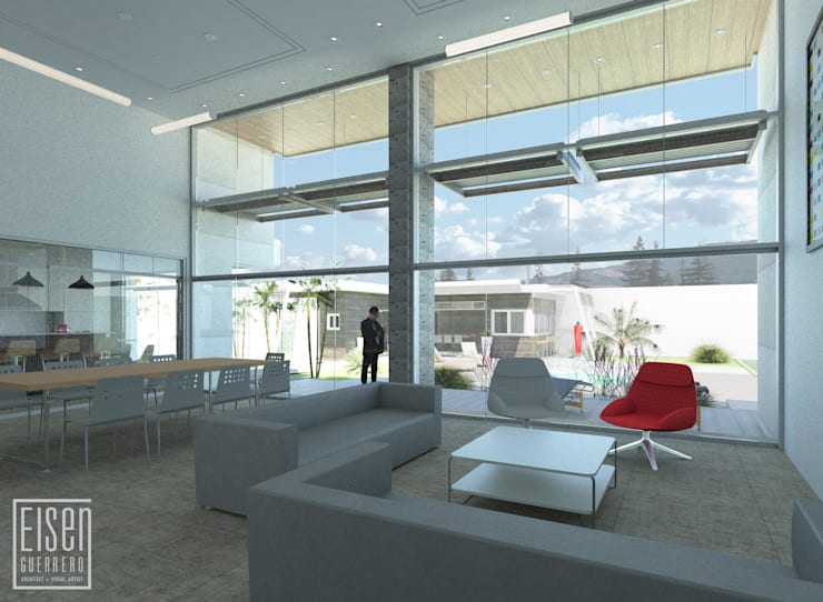 Sala, Comedor, Terraza: Salas / recibidores de estilo  por Eisen Arquitecto