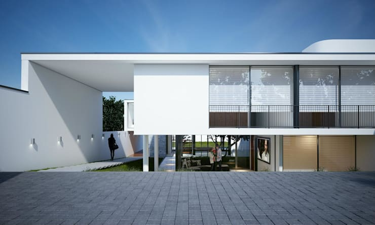 ESTACIONAMIENTOS E INGRESO:  de estilo  por Aram Arquitectos