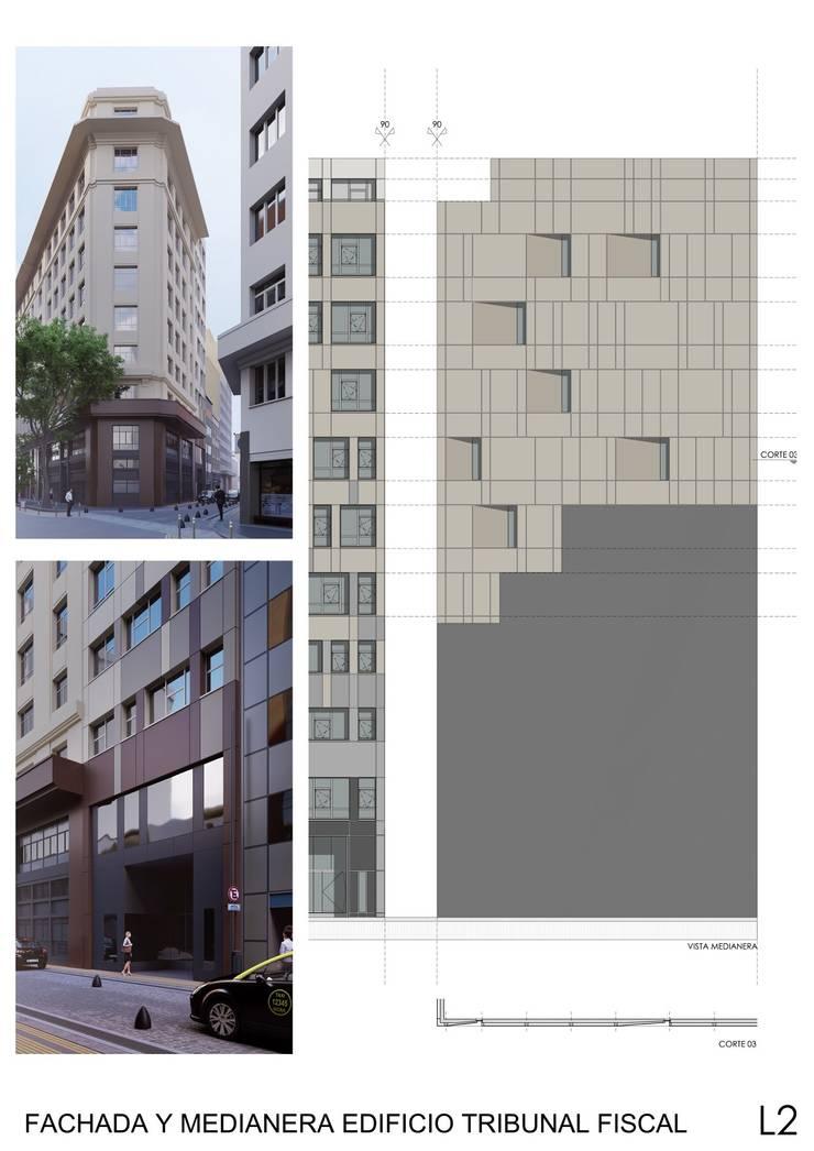 1° Premio Concurso Fachada y Medianera Edificio Tribunal: Edificios de Oficinas de estilo  por mm ARQUITECTOS,Moderno
