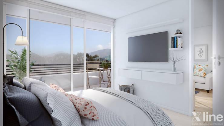 Altos de Puyai – Prohabit: Dormitorios de estilo  por Xline 3D,