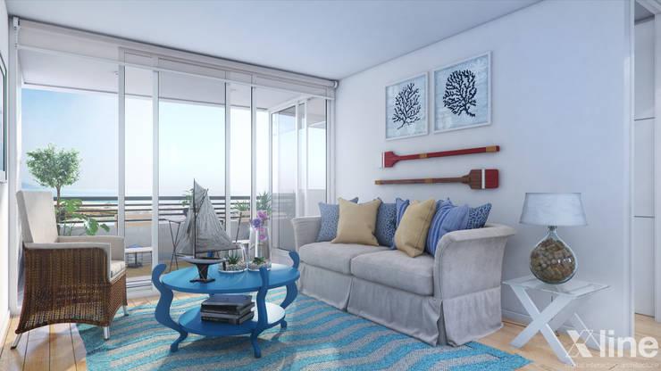 Altos de Puyai by Xline 3D:  Living room by Xline 3D Digital Architecture