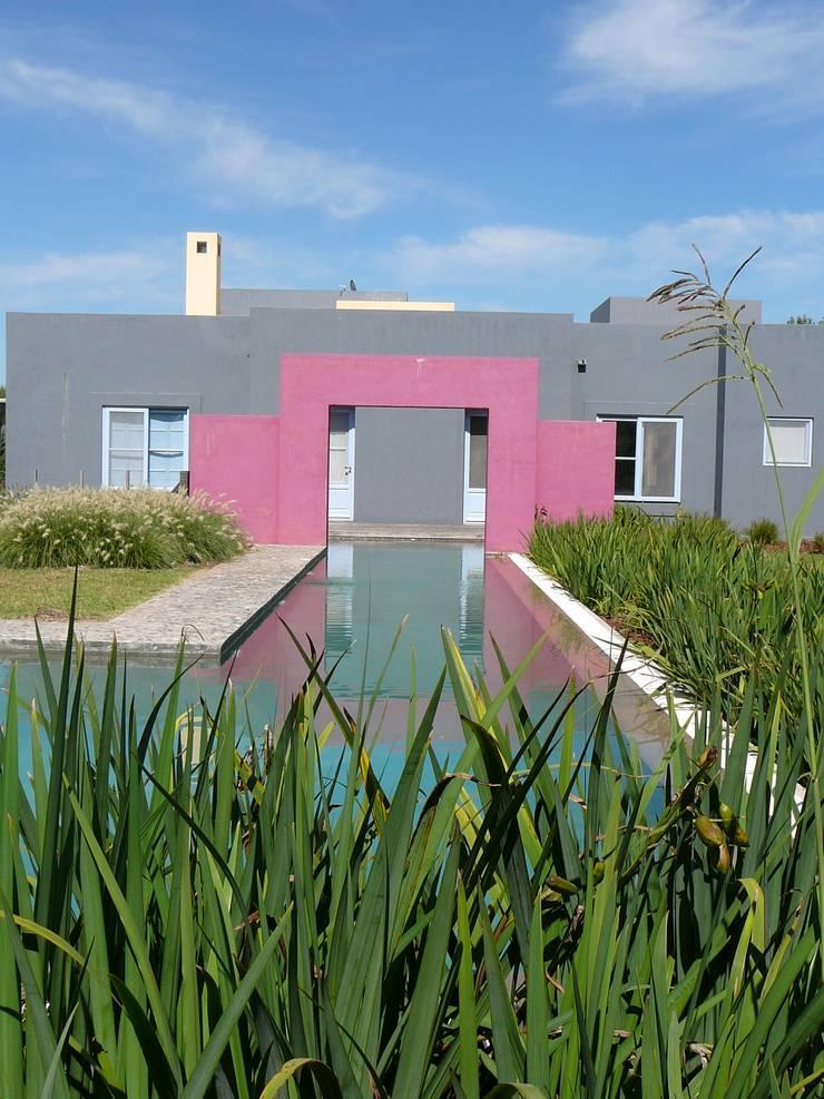 CASA EN CENTAUROS C.C. Pileta y canal de nado: Casas unifamiliares de estilo  por Estudio Dillon Terzaghi Arquitectura