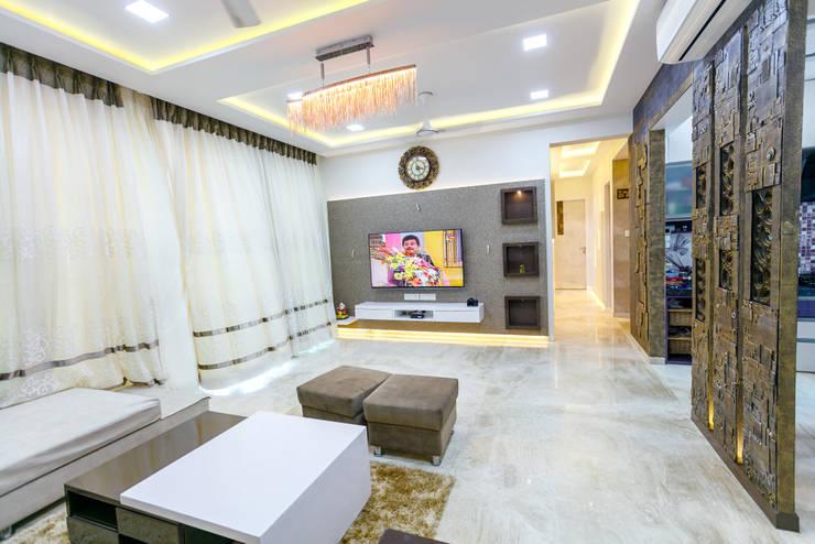 GB Road, Thane:  Living room by aasha interiors,Modern