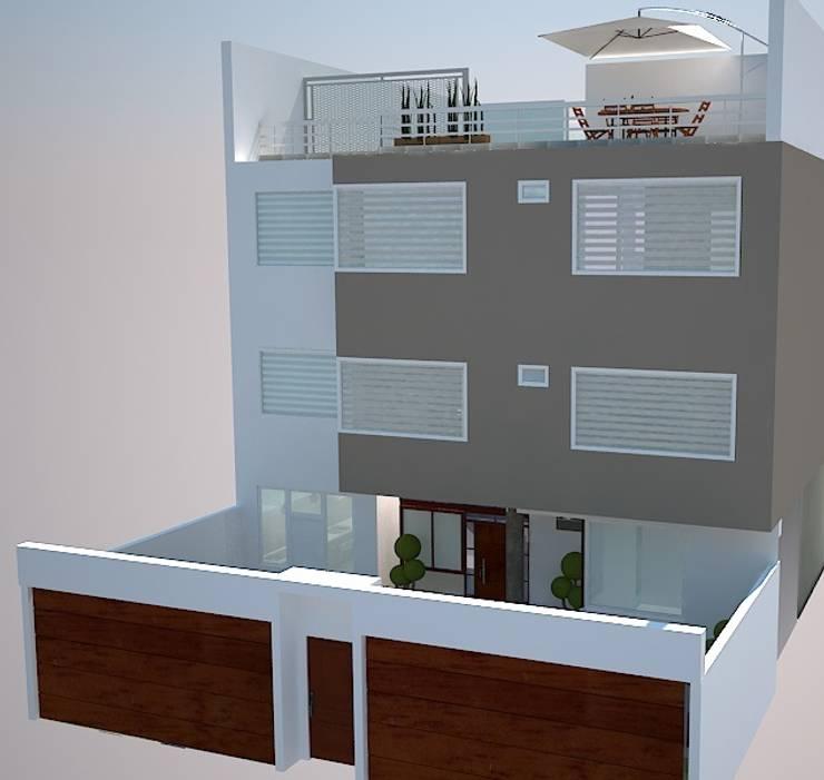 Fachada: Casas de estilo ecléctico por SindiyFiorella