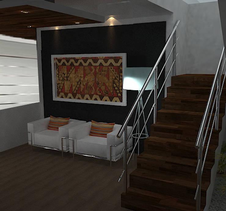 Hall: Salas / recibidores de estilo ecléctico por SindiyFiorella