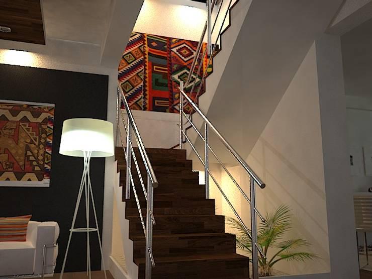 Escaleras: Pasillos y vestíbulos de estilo  por SindiyFiorella,