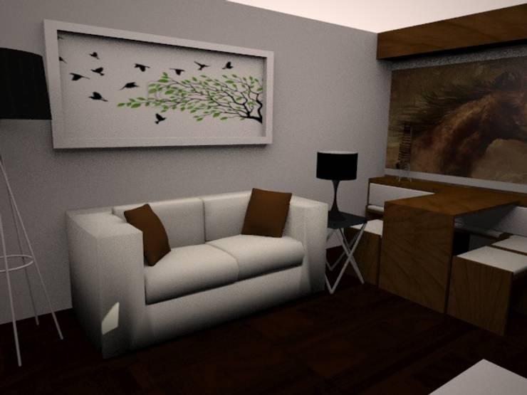 SALA - COMEDOR: Salas / recibidores de estilo  por SindiyFiorella