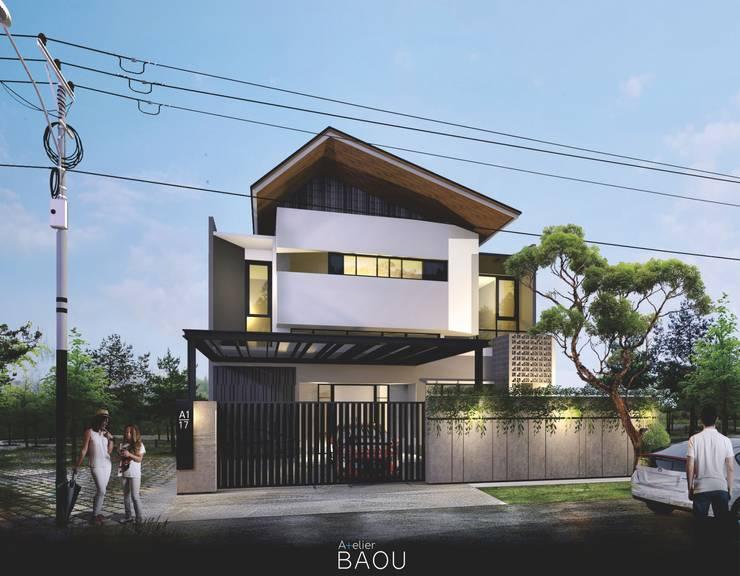 Eksterior:  Rumah tinggal  by Atelier BAOU+