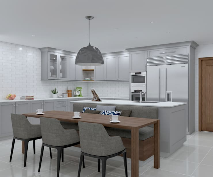 SANDTON KITCHEN - dining chairs :  Built-in kitchens by Linken Designs , Country Wood Wood effect