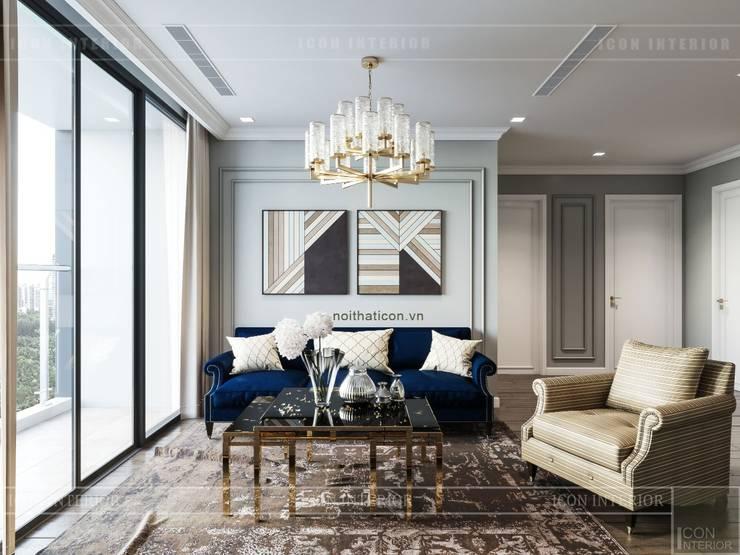 Thiết kế nội thất Tân Cổ Điển cao cấp Luxury 6 Vinhomes Golden River:  Phòng khách by ICON INTERIOR