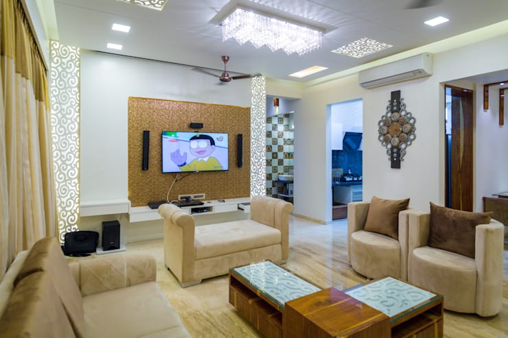 Rodas Enclave, Thane:  Living room by aasha interiors,Modern