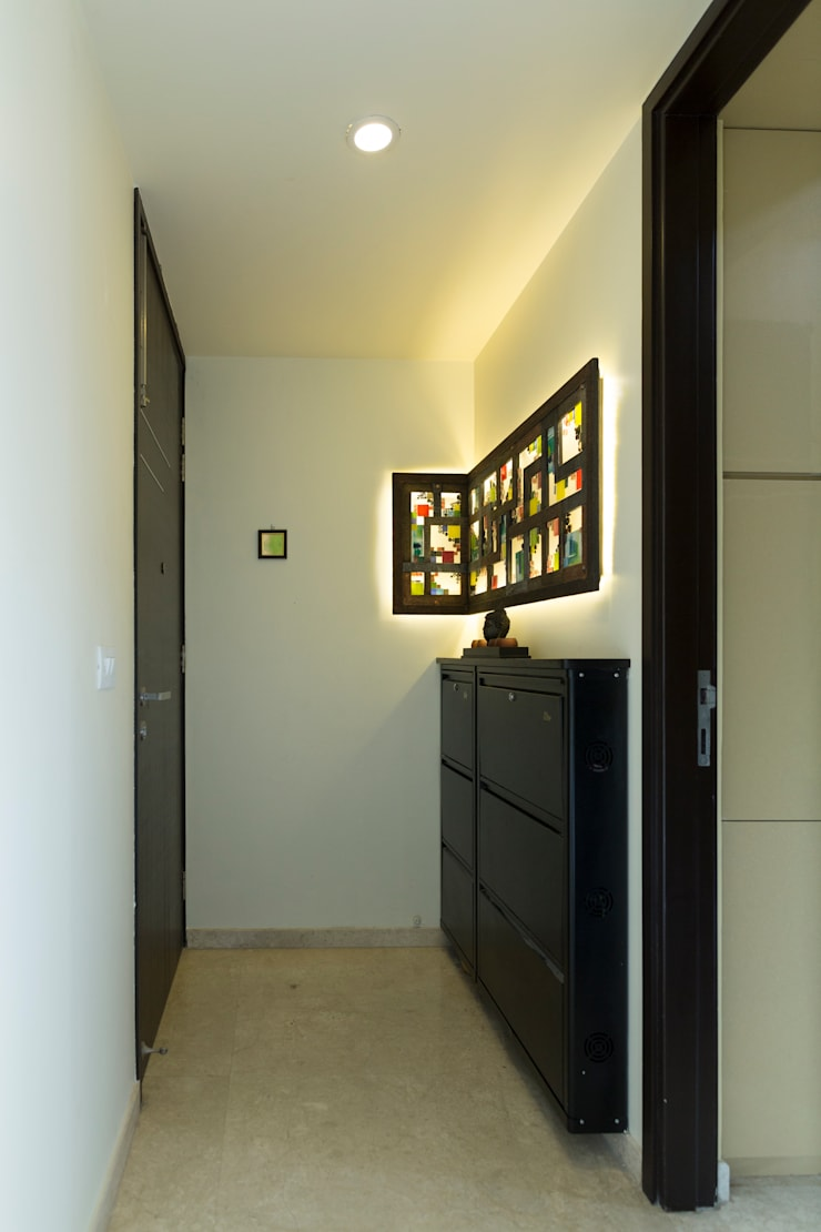 Modern Corridor, Hallway and Staircase by aasha interiors Modern