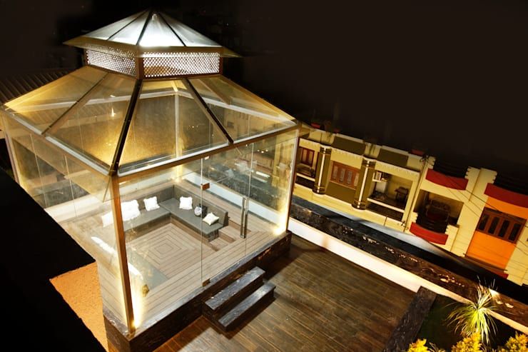 Mr Anil nahata's bungalow:  Terrace by Innerspace,Modern