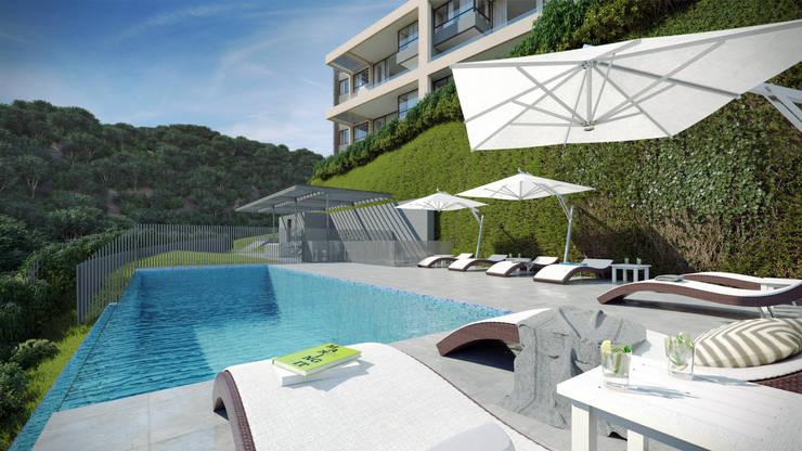 Depthouse Los Trapenses – Castro & Tagle Inmobiliaria: Piscinas de estilo  por Xline chile