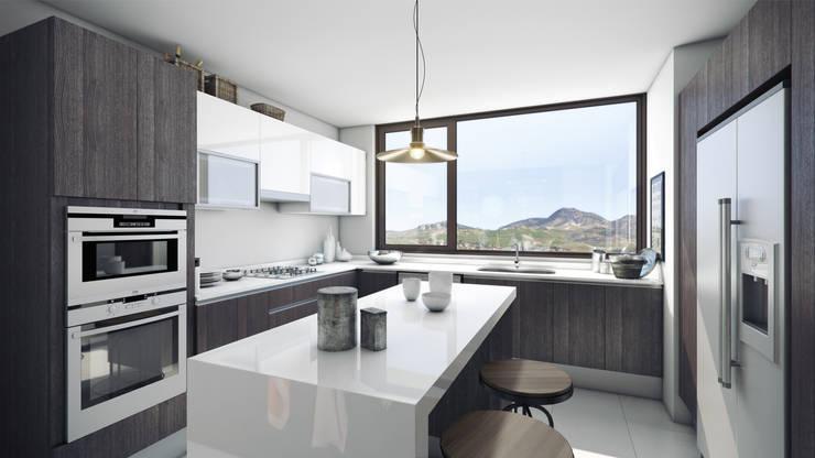 Depthouse Los Trapenses – Castro & Tagle Inmobiliaria: Cocinas de estilo  por Xline chile