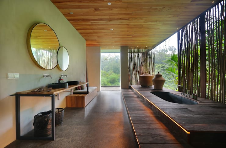 Baños de estilo  por Word of Mouth House, Tropical Madera Acabado en madera
